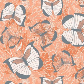 Fluttering Flight - Butterflies Peach Sunset