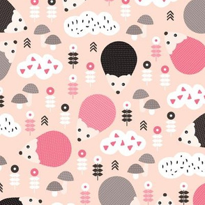 Hedgehog autumn garden with flowers clouds and fall elements gender neutral kids pattern pink