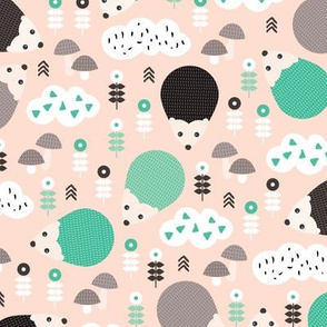 Hedgehog autumn garden with flowers clouds and fall elements gender neutral kids pattern mint