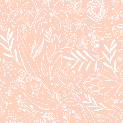Botanical Sketchbook - Floral Pink Blush fabric by heatherdutton on Spoonflower - custom fabric