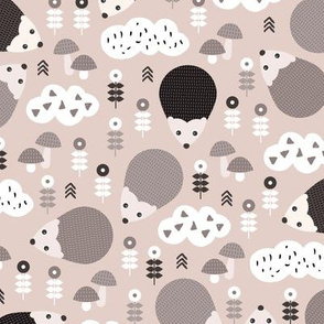 Hedgehog autumn garden with flowers clouds and fall elements gender neutral kids pattern