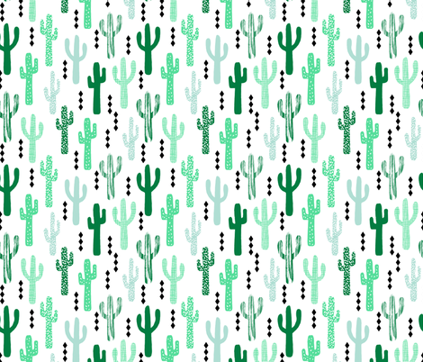 cactus greens grid tropical southwest design for trendy kids spring summer 2016  fabric by charlottewinter on Spoonflower - custom fabric