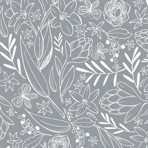 Botanical Sketchbook - Floral Slate Gray