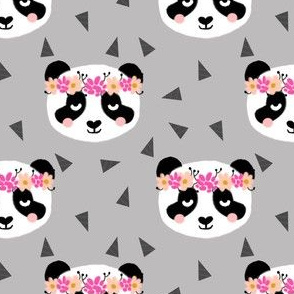 panda flowers gray