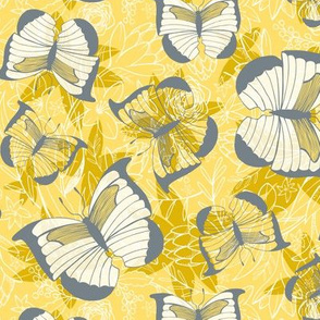 Fluttering Flight - Butterflies Yellow Gold