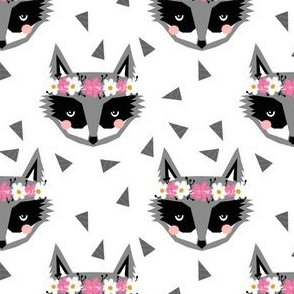 raccoon  spring flowers kids baby white nursery tri scandi cute girly raccoon