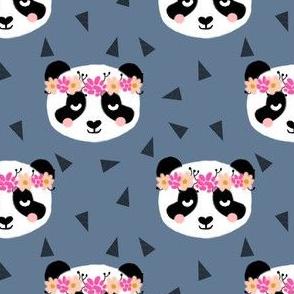 panda flowers blue