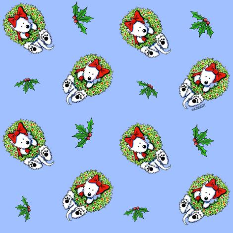 KiniArt Westie Wreath Wrangler (Sm) fabric by kiniart on Spoonflower - custom fabric