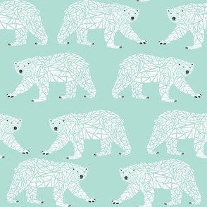 geometric polar bear mint
