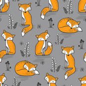 Dreamy Fox on Grey