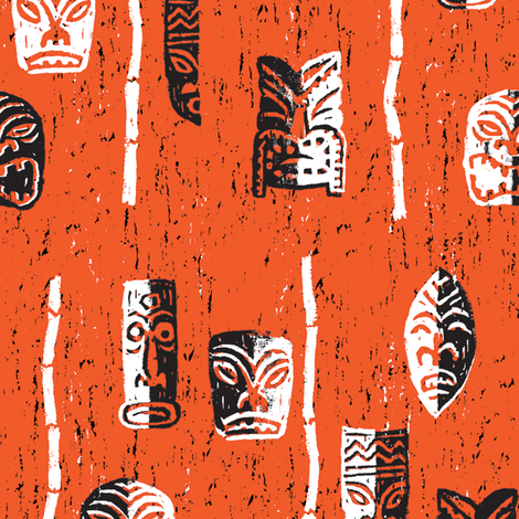 MidCentury Tikis 8a fabric by muhlenkott on Spoonflower - custom fabric