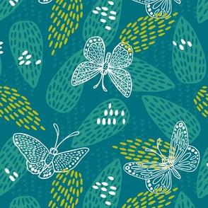 Butterflies at Dawn - Teal