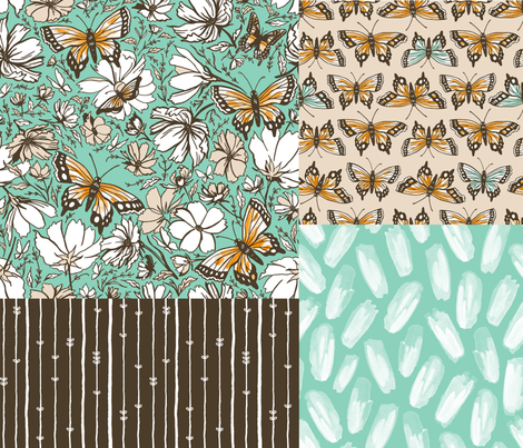 Butterfly Sketches Collection fabric by khubbs on Spoonflower - custom fabric
