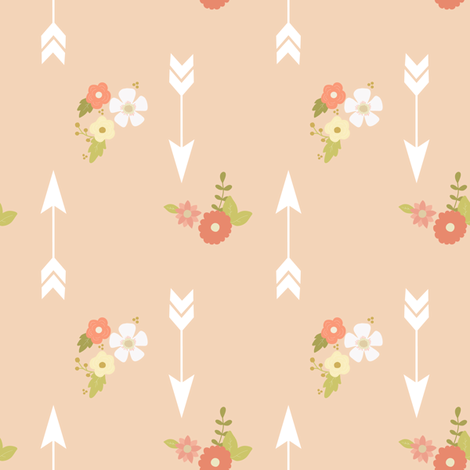 Arrows and flowers on blush fabric by mintpeony on Spoonflower - custom fabric