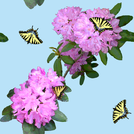 Butterflies_and_Rhododendrons_B fabric by khowardquilts on Spoonflower - custom fabric