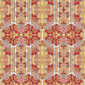 Flowering Hexagons of Red and Gold