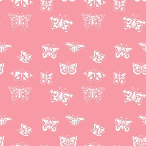 Butterflies White on Pink