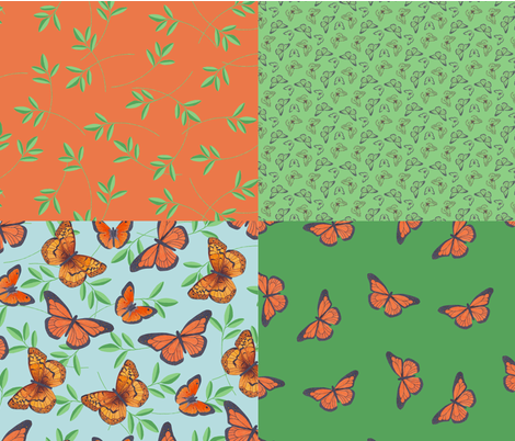 Joy's butterflies collection fabric by victorialasher on Spoonflower - custom fabric