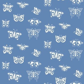 Butterflies White on Blue small