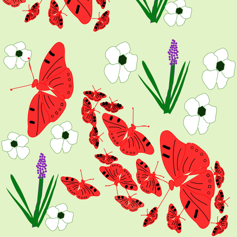 Red Butterflies on green fabric by gargoylesentry on Spoonflower - custom fabric