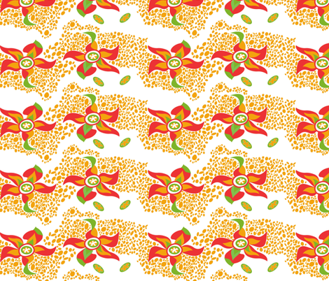 Papaya_red_green fabric by malolo on Spoonflower - custom fabric