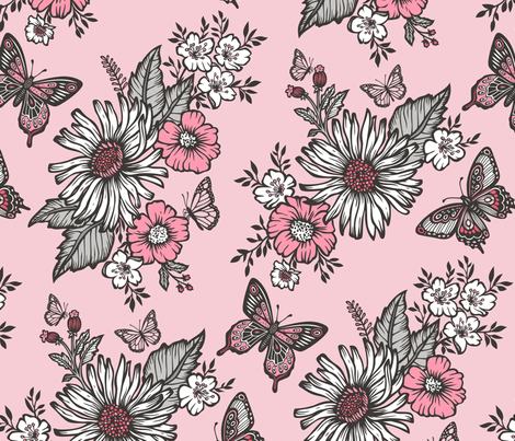 Butterflies in Sunny Garden fabric by caja_design on Spoonflower - custom fabric