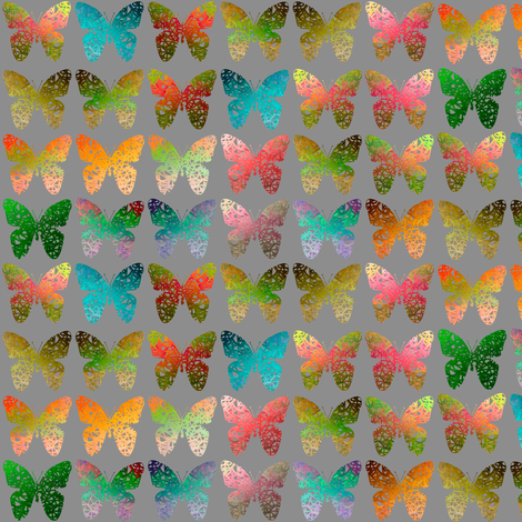 Fall multicolored butterflies on gray by Su_G fabric by su_g on Spoonflower - custom fabric