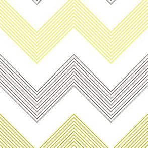Yellow Grey Stripey Chevron