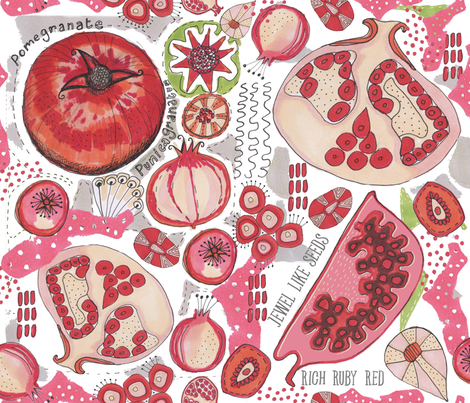 Pomegranate Pattern Studies fabric by slumbermonkey on Spoonflower - custom fabric