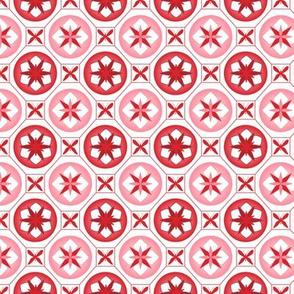 Chinoiserie / Flower Tiles Red