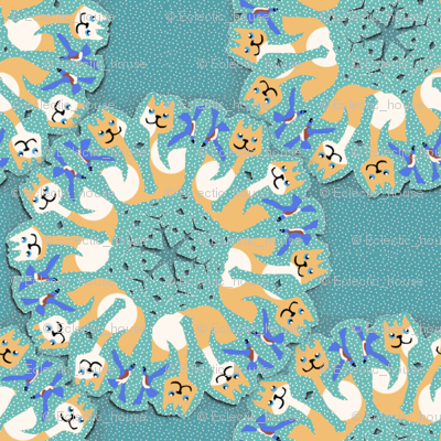 Snowflake Bluebirds and Dotty Cats