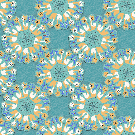 Snowflake Bluebirds and Dotty Cats fabric by eclectic_house on Spoonflower - custom fabric