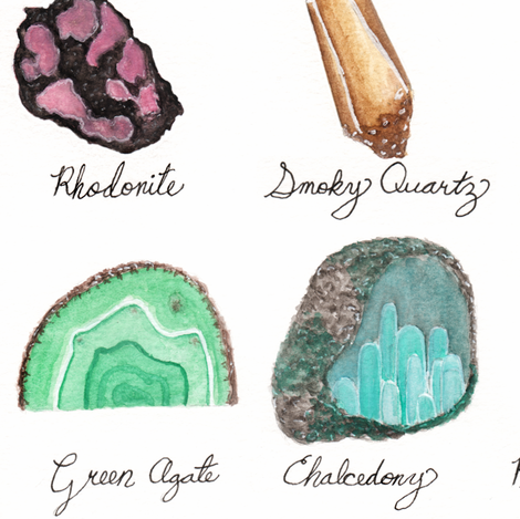 Healing Crystals- Gem Stone and Mineral Watercolor fabric by bella_modiste on Spoonflower - custom fabric