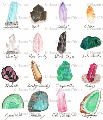 Small- Healing Crystals- Gem Stone and Mineral Watercolor