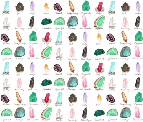 Small- Healing Crystals- Gem Stone and Mineral Watercolor fabric by bella_modiste on Spoonflower - custom fabric
