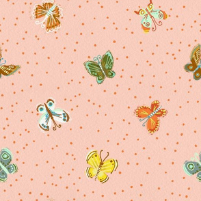 Butterflies with Dots in Pink