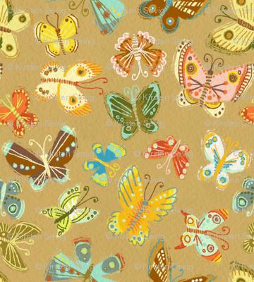 Moonrise Butterflies on Khaki
