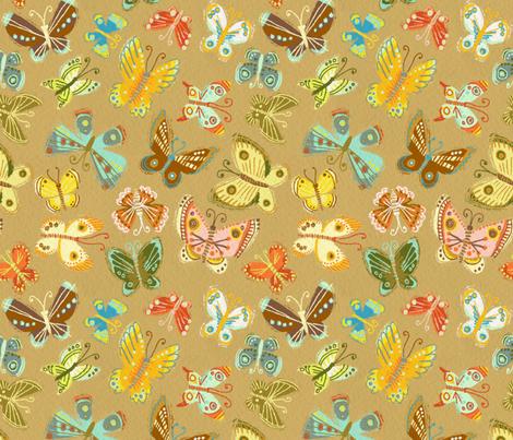 Moonrise Butterflies on Khaki fabric by kirsten_sevig on Spoonflower - custom fabric
