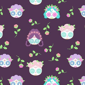 CUTE SUGAR SKULLS GIRLS (PURPLE)