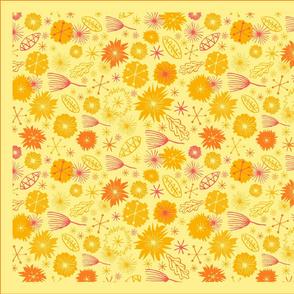 Mid Century Flowers Tea Towel