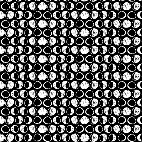 Moon Phases - Black/White (Small) by Andrea Lauren fabric by andrea_lauren on Spoonflower - custom fabric