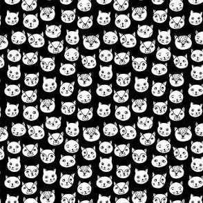 cat faces // black and white tiny cat faces cute cats