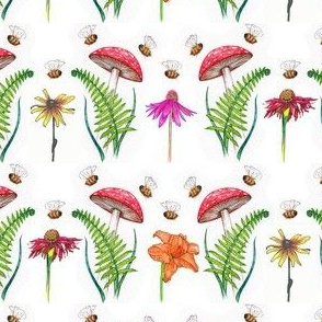 mushrooms, bees and, flowers