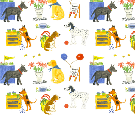 Dogs at the Farmers Market fabric by sleepingdogquilts on Spoonflower - custom fabric
