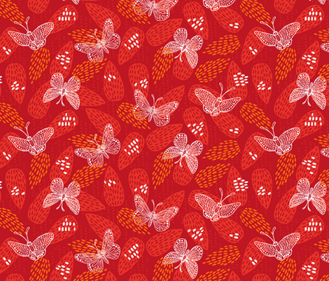 Butterflies at Dawn - Red fabric by pinky_wittingslow on Spoonflower - custom fabric