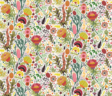 Botanical bloom fabric by fizah_malik on Spoonflower - custom fabric