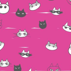 Cat Faces fucsia