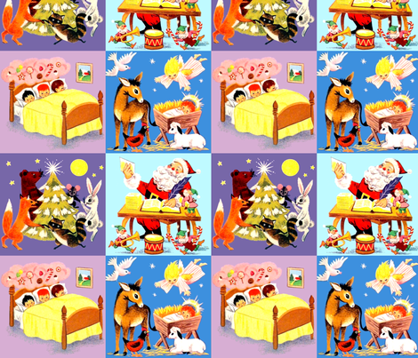 cheater quilt Christmas trees foxes bears rabbits racoon mouse moon stars Santa Claus Elf elves trumpets drums candy canes children gifts sweets letters lists dreams lollipops pastries pastry sleeping beds angels doves donkeys roosters sheep lambs baby ba fabric by raveneve on Spoonflower - custom fabric