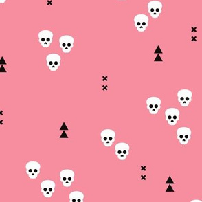 Skulls geometric halloween horror illustration in pastel pink