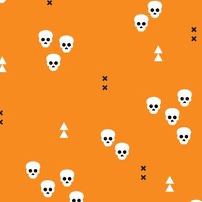 Skulls geometric halloween horror illustration in orange